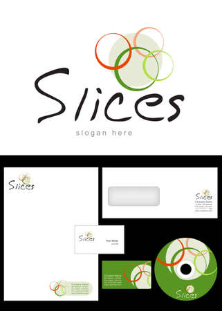 Slices Logo Design and corporate identity package including logo, letterhead, business card, envelope and cd label. Vector