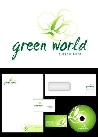 Green world Logo Design and corporate identity package including logo, letterhead, business card, envelope and cd label. Vector