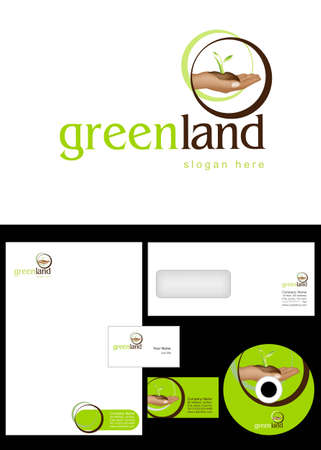 Green Land Logo Design and corporate identity package including logo, letterhead, business card, envelope and cd label. Vector
