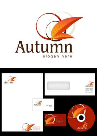 Autumn Logo Design and corporate identity package including logo, letterhead, business card, envelope and cd label. Stock Vector - 12947613