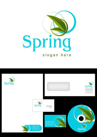 Spring Logo Design and corporate identity package including logo, letterhead, business card, envelope and cd label. Vector
