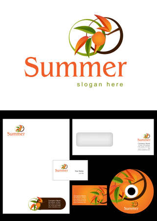 Summer Logo Design and corporate identity package including logo, letterhead, business card, envelope and cd label. Vector