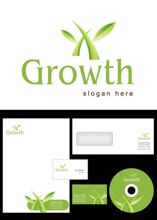 Growth Logo Design and corporate identity package including logo, letterhead, business card, envelope and cd label. Vector