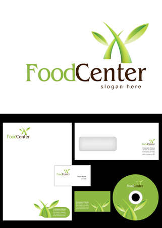 Food Center Logo Design and corporate identity package including logo, letterhead, business card, envelope and cd label. Vector