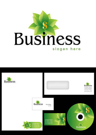 investment, trading, commerce, Business Logo Design and corporate identity package including logo, letterhead, business card, envelope and cd label. Vector