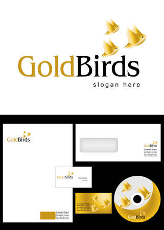 cd label: Gold Birds Logo Design and corporate identity package including logo, letterhead, business card, envelope and cd label. Illustration