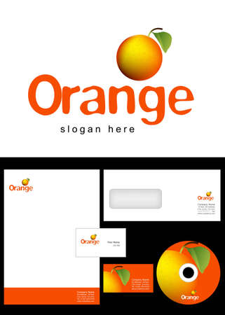 Orange Logo Design and corporate identity package including logo, letterhead, business card, envelope and cd label. Vector