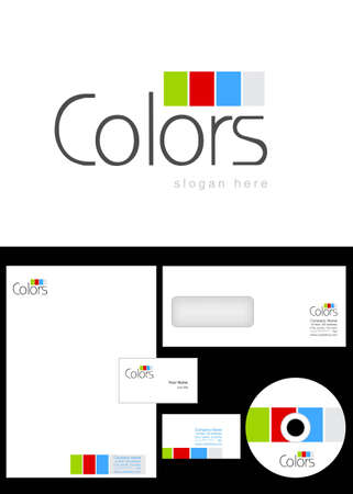 Colors Logo Design and corporate identity package including logo, letterhead, business card, envelope and cd label.