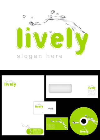 Lively Logo Design and corporate identity package including logo, letterhead, business card, envelope and cd label. Vector