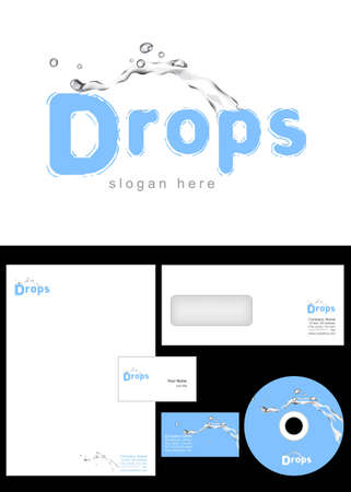 Drops Logo Design and corporate identity package including logo, letterhead, business card, envelope and cd label. Stock Vector - 12959835