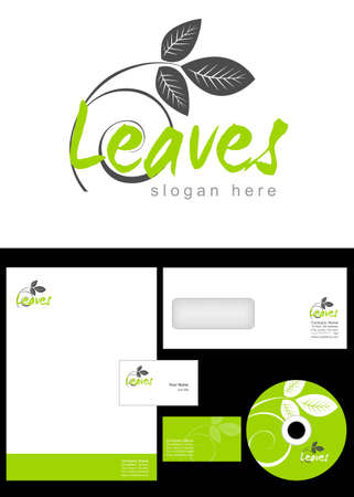 Leaves Logo Design and corporate identity package including logo, letterhead, business card, envelope and cd label. Stock Vector - 12959789