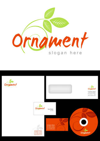 Ornament Logo Design and corporate identity package including logo, letterhead, business card, envelope and cd label. Stock Vector - 12959798