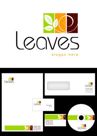 Leaves Logo Design and corporate identity package including logo, letterhead, business card, envelope and cd label. Vector