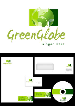 Green Globe Logo Design and corporate identity package including logo, letterhead, business card, envelope and cd label.