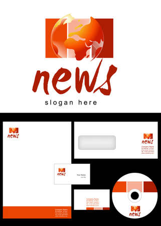 cd label: News Blog Logo Design and corporate identity package including logo, letterhead, business card, envelope and cd label. Illustration