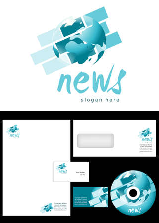 News Blog Logo Design and corporate identity package including logo, letterhead, business card, envelope and cd label. Illustration