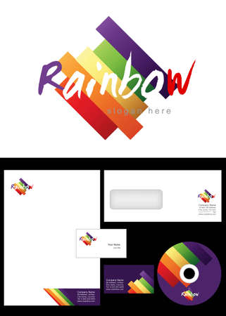 cd label: Rainbow Logo Design and corporate identity package including logo, letterhead, business card, envelope and cd label.