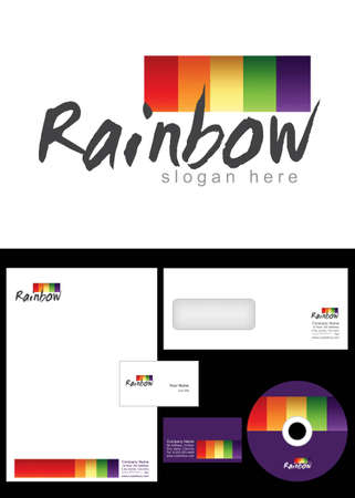 Rainbow Logo Design and corporate identity package including logo, letterhead, business card, envelope and cd label. Vector