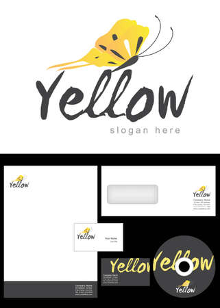 cd label: Yellow Logo Design and corporate identity package including logo, letterhead, business card, envelope and cd label. Illustration