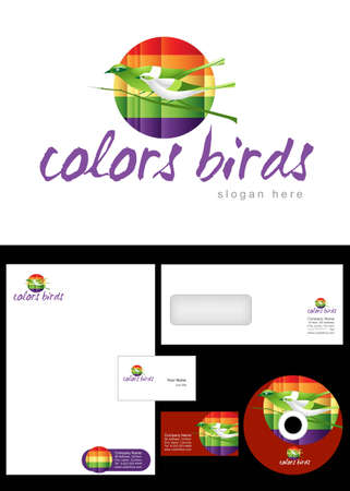 Color birds Logo Design and corporate identity package including logo, letterhead, business card, envelope and cd label. Vector