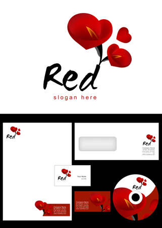 Red Logo Design and corporate identity package including logo, letterhead, business card, envelope and cd label.