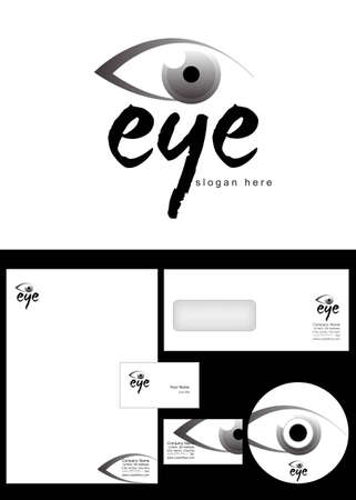 eye Logo Design and corporate identity package including logo, letterhead, business card, envelope and cd label. Vector