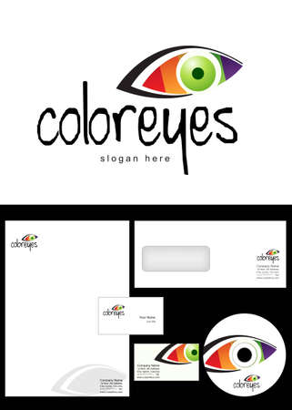 color eyes Logo Design and corporate identity package including logo, letterhead, business card, envelope and cd label. Vector