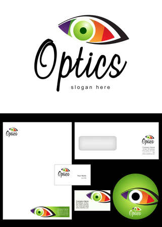 Optics Logo Design and corporate identity package including logo, letterhead, business card, envelope and cd label.