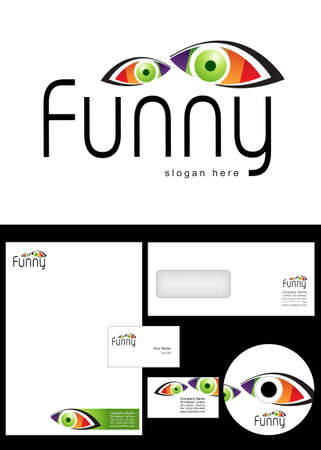 Funny Logo Design and corporate identity package including logo, letterhead, business card, envelope and cd label. Vector