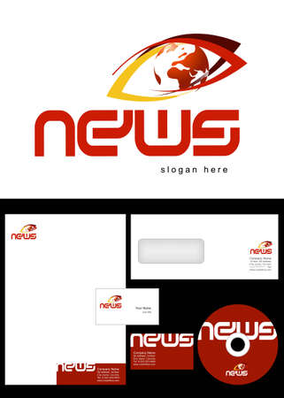 News Blog Logo Design and corporate identity package including logo, letterhead, business card, envelope and cd label. Vector