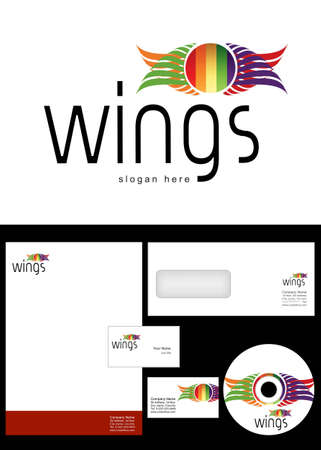 Wings Logo Design and corporate identity package including logo, letterhead, business card, envelope and cd label. Stock Vector - 12959799