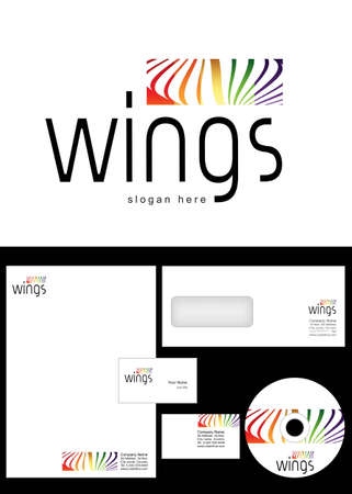 Wings Logo Design and corporate identity package including logo, letterhead, business card, envelope and cd label. Vector