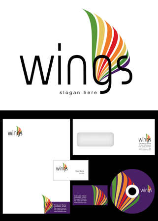 Wings Logo Design and corporate identity package including logo, letterhead, business card, envelope and cd label.