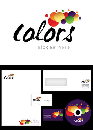 Colors Logo Design and corporate identity package including logo, letterhead, business card, envelope and cd label. Vector