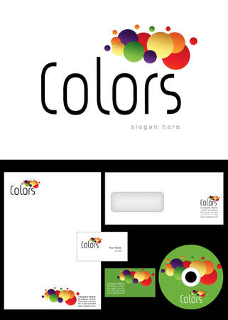 Colors Logo Design and corporate identity package including logo, letterhead, business card, envelope and cd label. Stock Vector - 12959841