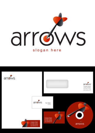 Arrow Logo Design and corporate identity package including logo, letterhead, business card, envelope and cd label. Vector