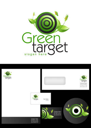 Green Target Logo Design and corporate identity package including logo, letterhead, business card, envelope and cd label. Vector