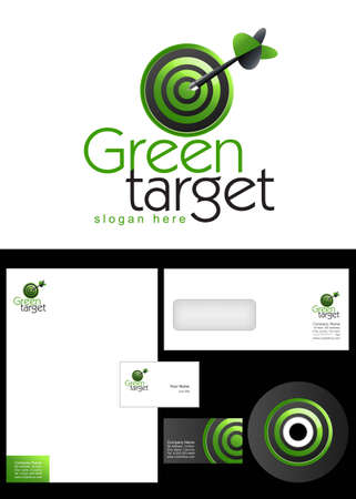 Green Target Logo Design and corporate identity package including logo, letterhead, business card, envelope and cd label. Stock Vector - 12959785