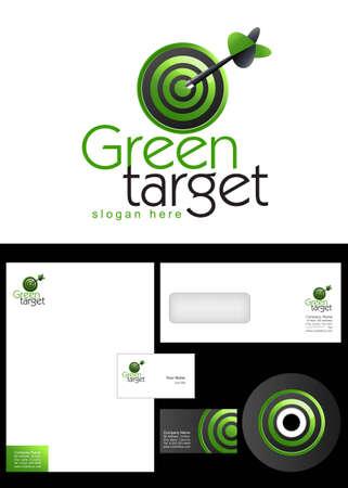 doelstelling: Green Target Logo ontwerp en huisstijl pakket, inclusief logo, briefpapier, visitekaartje, envelop en cd-label.