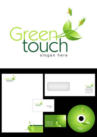 Green touch Logo Design and corporate identity package including logo, letterhead, business card, envelope and cd label. Vector