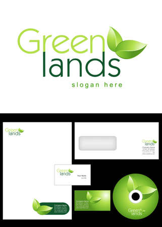 Green Lands Logo Design and corporate identity package including logo, letterhead, business card, envelope and cd label. Vector