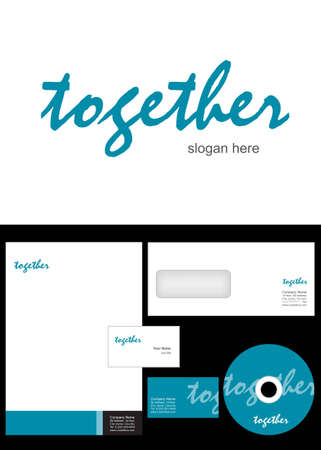together Logo Design and corporate identity package including logo, letterhead, business card, envelope and cd label. Stock Vector - 12959790