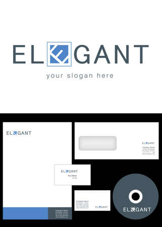 Elegant Logo Design and corporate identity package including logo, letterhead, business card, envelope and cd label. Vector