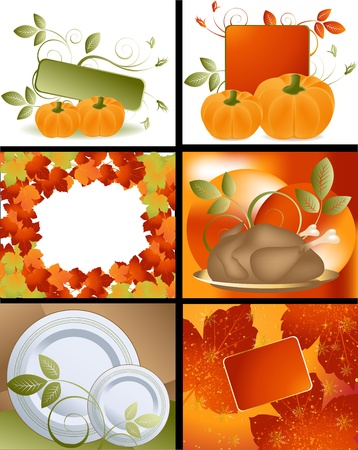family history: Set of Thanksgiving deigns and backgrounds .  Illustration
