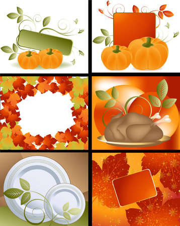 history month: Set of Thanksgiving deigns and backgrounds .  Illustration