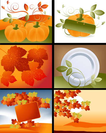 Set of Thanksgiving deigns and backgrounds . Stock Vector - 16138141