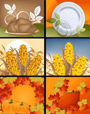 pocahontas: Set of Thanksgiving deigns and backgrounds .  Illustration