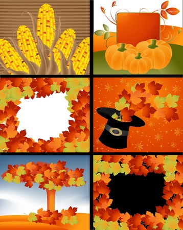 Set of Thanksgiving deigns and backgrounds . Stock Vector - 16138143