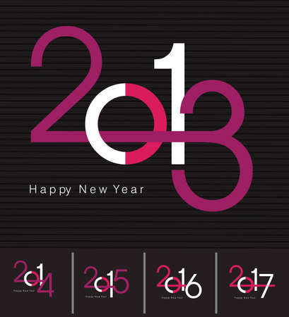 Design for the new year 2013, 2014, 2015, 2016, 2017 and Happy New Year greeting card  Vector