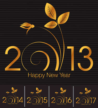 Design for the new year 2013, 2014, 2015, 2016, 2017 and Happy New Year greeting card  Illustration